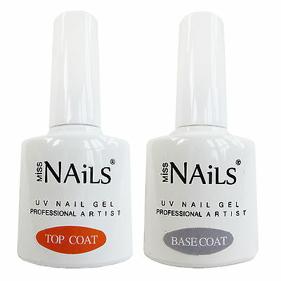 Miss Nails® TWIN-PACK TOP and BASE COAT For UV LED Nail Gel Soak Off Polish 10ml