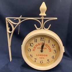New Kensington Station Double Side Wall Clock London 1879 Train Railroad White