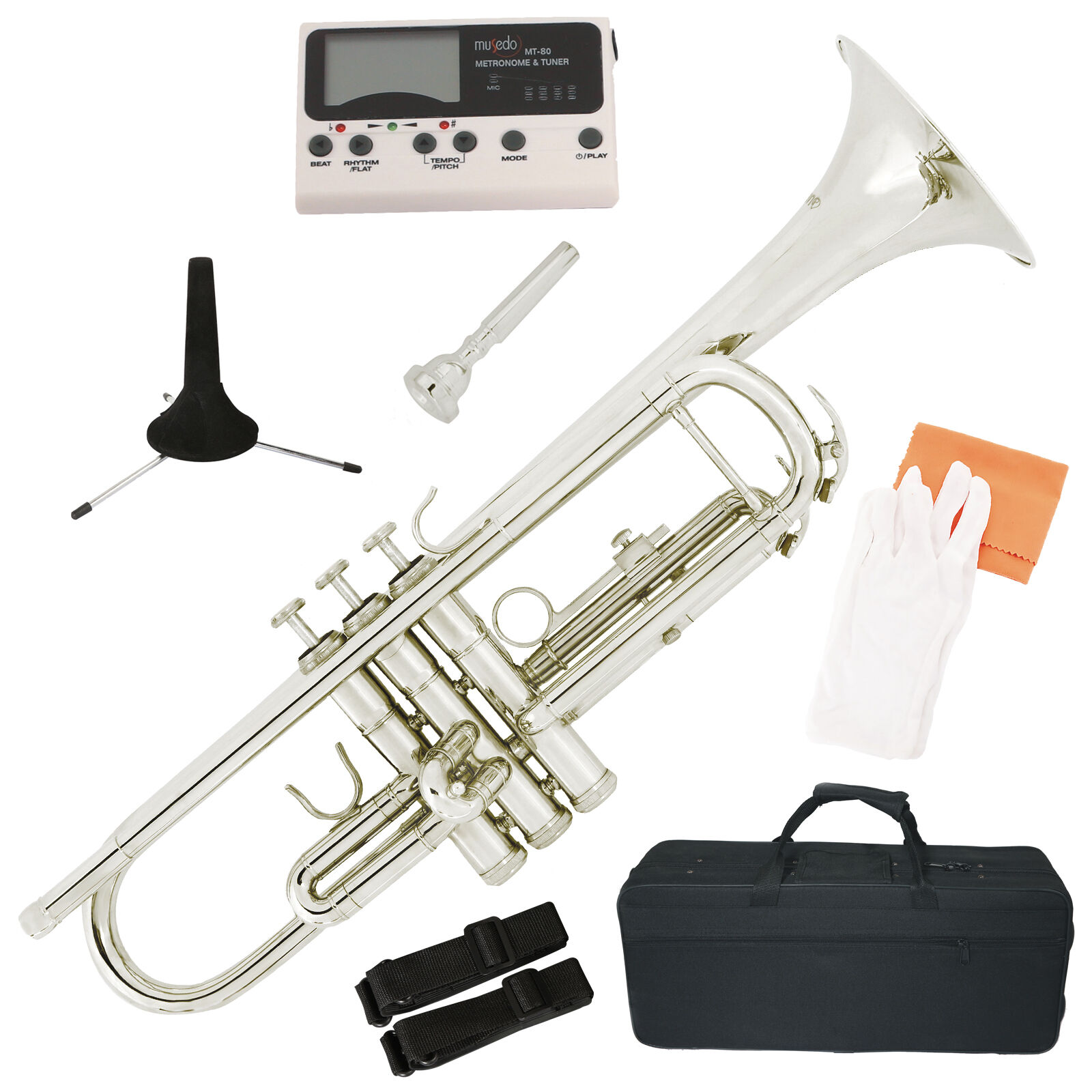Bb Beginner Trumpet Silver Nickel Plated Student Band w/ Tuner, Case & Care Kit