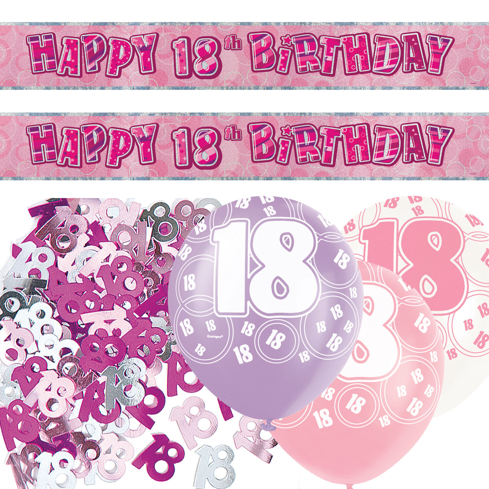 Pink Silver Girl Glitz 18th Birthday Banner Party