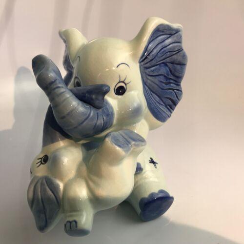 Dutch Delft Blue Ceramic Elephant Bank with Baby Elephant #202