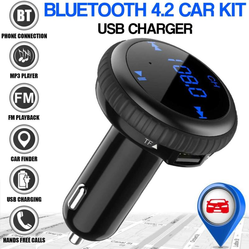 Bluetooth 4.2 Car Kit Fm Transmitter Wireless Radio Adapter SD Slot USB Charger