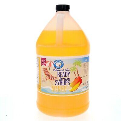 Hawaiian Shaved Ice Or Snow Cone Mango Syrup Ready To Use Gallon 128 Fl. Oz