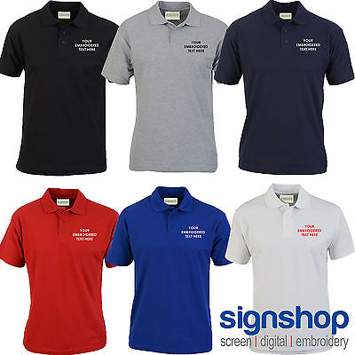 Custom Embroidered Polo Shirt Personalised with your Text or Logo - SS212