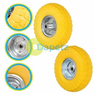 """10"""" Puncture Burst Proof Wheel Yellow Solid Rubber Tyre Sack Truck Trolley 2Pc"""