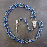 Colorido Azul Ojo Resina Rosario Cuentas 51cm Longitud Cristiano Religioso -  - ebay.es