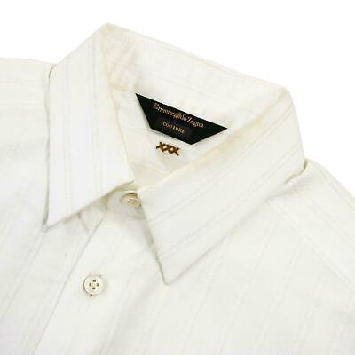 Dress Shirt Bodysuit (Zegna Couture White Cotton Striped Jacquard Bodysuit Dress Shirt)