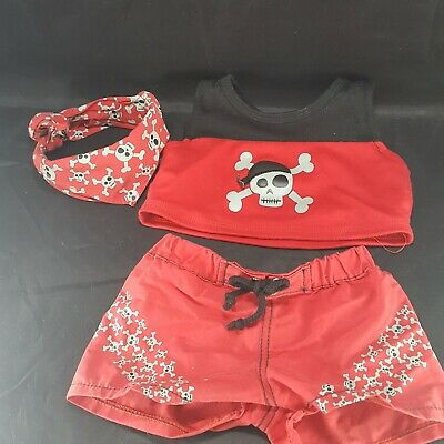 BABW Build A Bear Pirate Suit Red Black Skulls Outfit Bandanna Shirt - Build A Bear Pirate Outfit