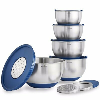 VonShef 5 Piece Stainless Steel Nested Mixing Bowls Set With Lids, Non-Slip Bowl