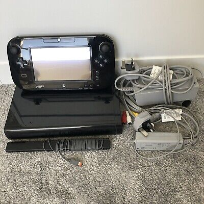 Nintendo Wii U Console & All Leads - Black 32GB (Tested)