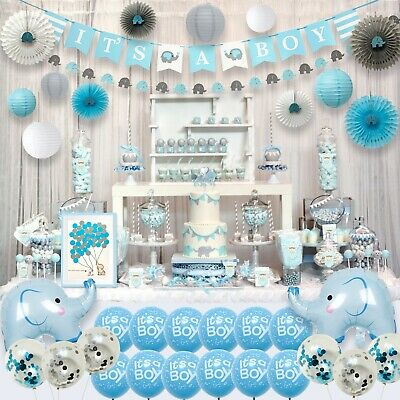 Elephant Party Supplies (Aj World Blue Elephant Baby Shower Decorations for Boy Party Supplies)