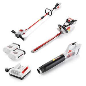 Cordless Garden Power Tool Kit, Grass Strimmer, Hedge Trimmer, Leaf blower 40V