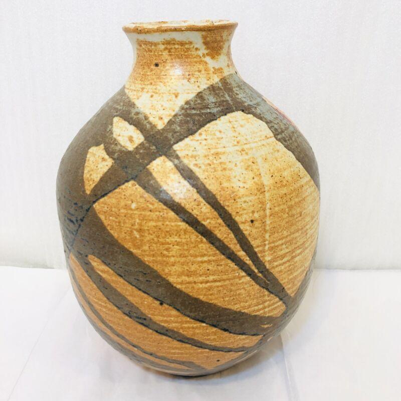 Vintage 1970s Zoeller Pottery Vase Brown Salt Glaze Kentucky Bluegrass Country