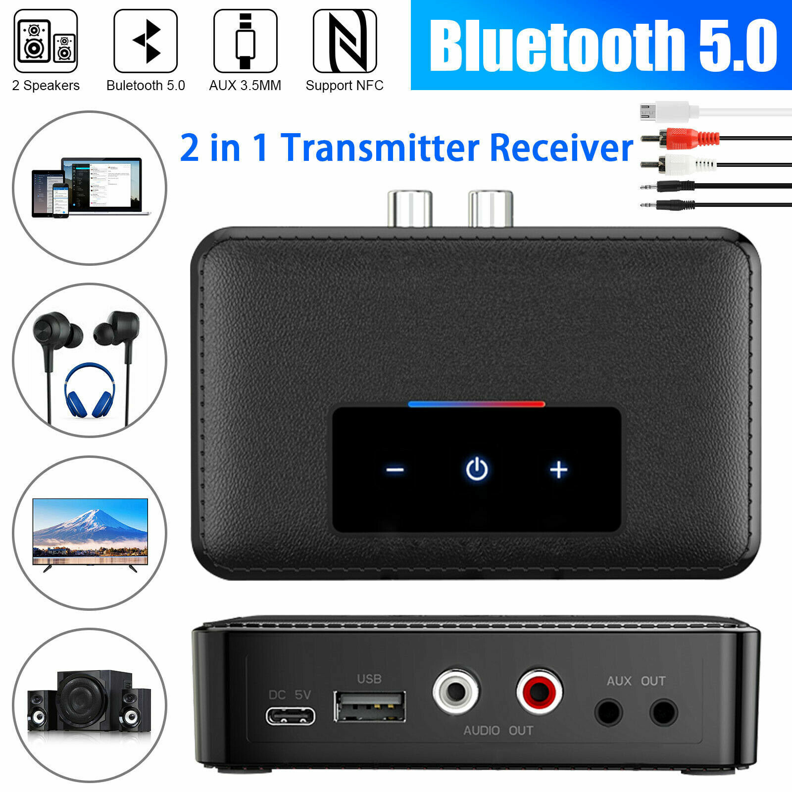 NFC Bluetooth 5.0 Receiver Transmitter Wireless 3.5mm AUX Jack RCA Audio Adapter - $19.99