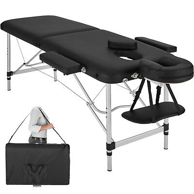 Mobile Alu Massageliege Massagetisch Massagebank klappbar 2 Zonen schwarz