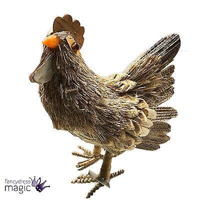 Gisela Graham 18cm Bristle Hen Chicken Easter Spring Standing Home Decoration