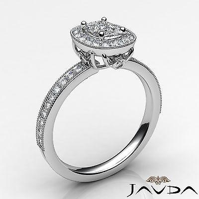 Milgrain Halo Pave Bezel Set Cushion Shape Diamond Engagement Ring GIA H VS1 1Ct 1