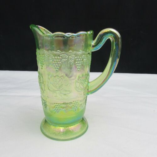 Fenton Green Iridized Water Lily Dorothy Taylor Miniature Pitcher W201