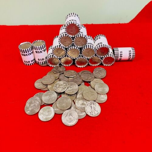 UNSEARCHED BANK SEALED HALF DOLLAR ROLLS POSSIBLE 40% 90% KENNEDY FRANKLIN