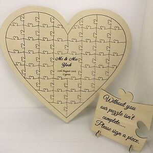 Personalised birch plywood 40 piece heart shaped wedding guest book jigsaw