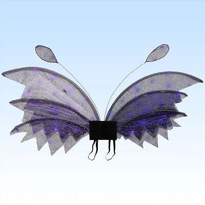 Flügel Elfe Spinnennetz lila glänzend 80x30cm f. Faschingskostüm Kostümflügel