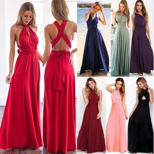 Damen Lang Maxikleid Abendkleid Kleid Hochzeitskleid Cocktail Ball Wickelkleider