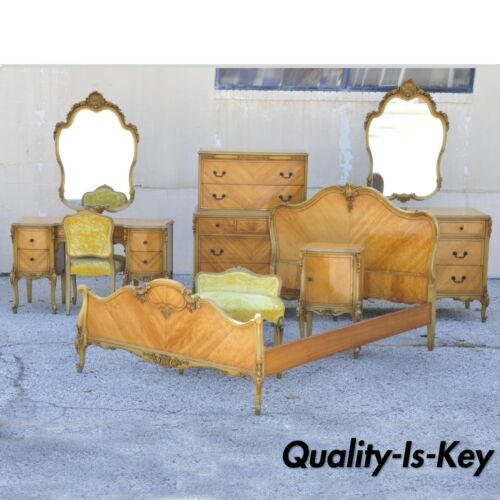 Antique French Louis XV Carved Satinwood 9 Pc Bedroom Set Dresser Vanity Mirror