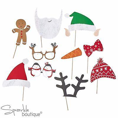 SANTA & FRIENDS XMAS PHOTO BOOTH SET - Props inc Father Christmas, Elf & Glasses ()