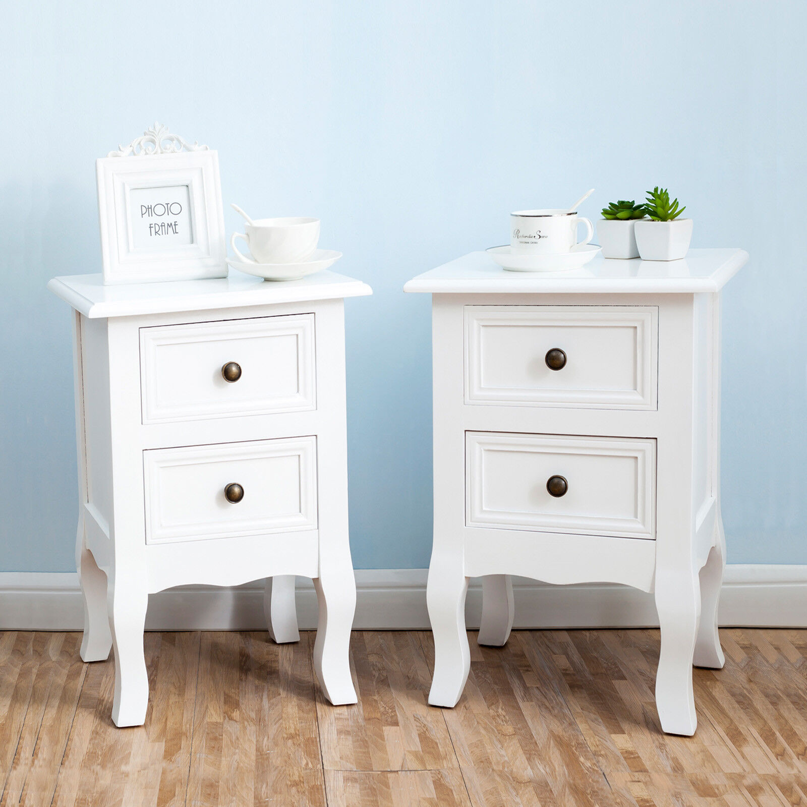 Details about 2 Pieces Wooden Nightstand Bedside Sofa Side Table End Table  Bedroom Furniture
