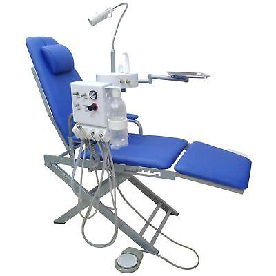 Portable Dental Mobile Chair Unit Turbine Unit Led Lamp Waste Basin Blue