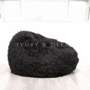SHAGGY FUR BEANBAG Cover Soft Black Bedroom Plush Bean Bag Lounge Movie Chair