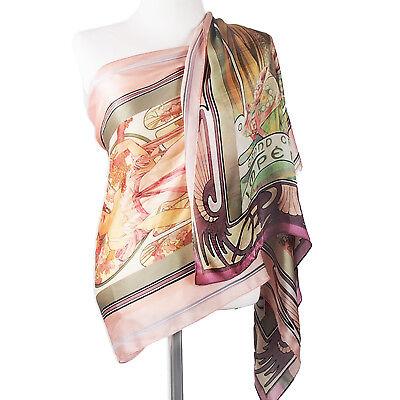 "Alphonse Mucha Moet Chandon 100% Silk Soft Floral Coral Pink Scarf Shawls 70"""