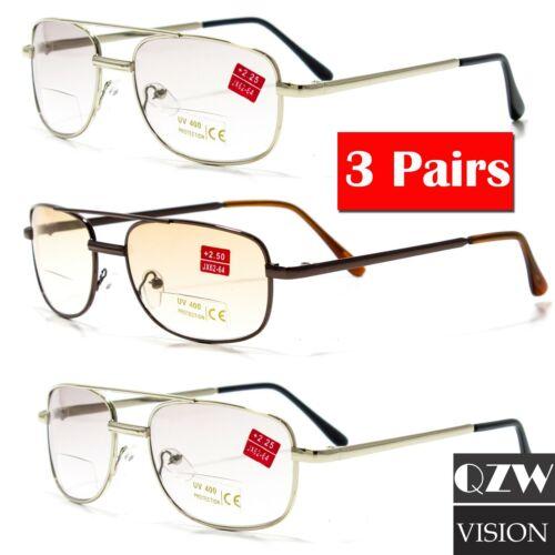 3 Pairs Mens Womens Spring Hinge Metal Bifocal Reading Reader Sunglasses Glasses