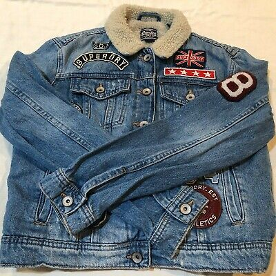 Superdry Sherpa Girlfriend Denim Jacket Patches G50030YP Blue Womens Small [36]