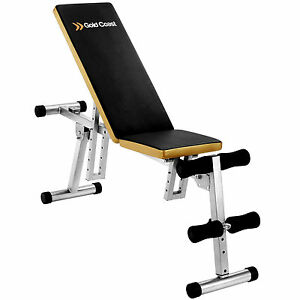 Gold Coast Folding Dumbbell Home Weight Lifting Gym Sit Up Exercise Bench