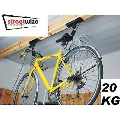 STREETWIZE 20KG Cycle Storage Lift Bike hanger hoist storage rack bracket  sc 1 st  eBay & STREETWIZE 20KG Cycle Storage Lift Bike hanger hoist storage rack ...