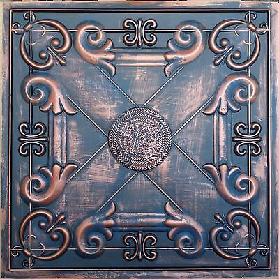 PL22 Faux tin painted aged red copper ceiling tile decor wall panel 10tile/lot
