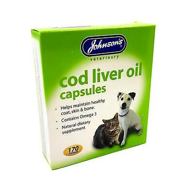 Johnson's Dog Cat Cod Liver Oil 170 Capsules Supplement Healthy Skin Coat Bones Dog Liver Bones