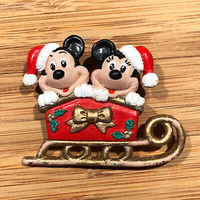 Vintage Disney Pin Mickey & Minnie In Sleigh Sled Christmas Santa Hats