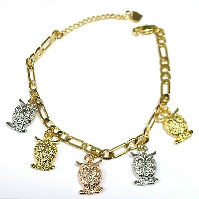 14k Gold Plated 3-Tone Owl Dangling Charms Bracelet with Extension  14k Gold Owl Charm