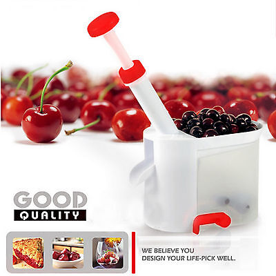 Deluxe Cherry Pitter Corer Olive Stoner Remover Suction Base Smart Kitchen Tool ()