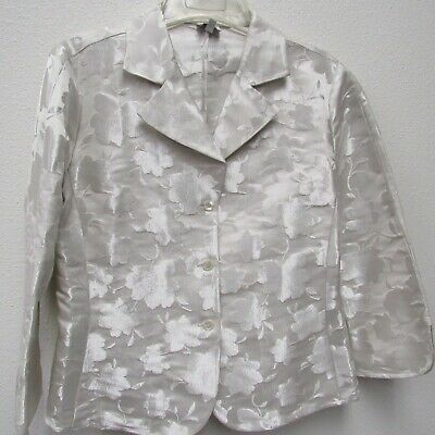 Armani Collezioni Antinea Blazer Jacket Womens Size 10 Ivory Floral Silk Blend
