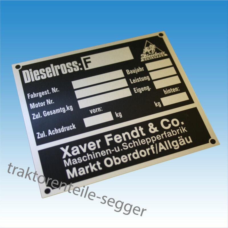 Typenschild Fendt Dieselross Blanko Fahrgest. Nr. Baujahr Traktor Schlepper 179 Foto 1