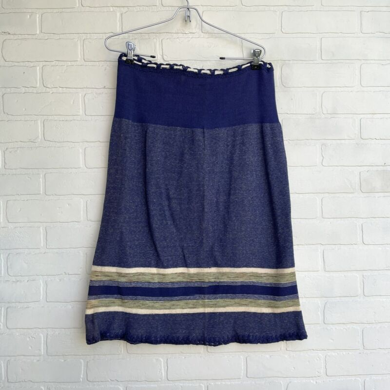 Antique Early 1900s Wool Slip Skirt Deadstock with Tags Blue Handmade