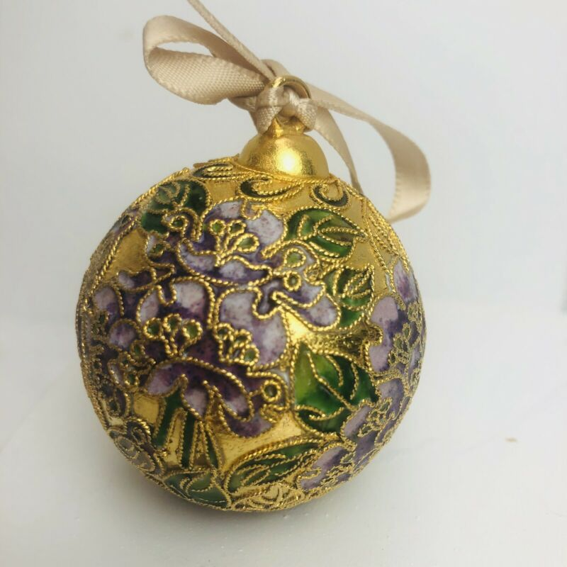 Precious Cloisonné Ball Christmas Ornament Gold Plated Enamel Pink Green Copper