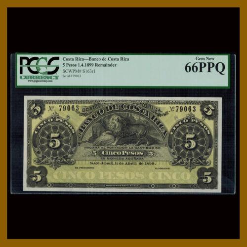 Costa Rica 5 Pesos, 1899 P-163r1 PCGS 66 PPQ