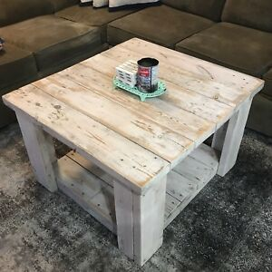 Rustic White Washed / Distressed Wood Coffee Table