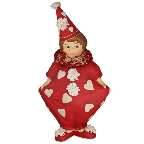 "6.5"" Bethany Lowe Red Clown Girl Valentines Day Retro Vntg Style Figurine Decor"