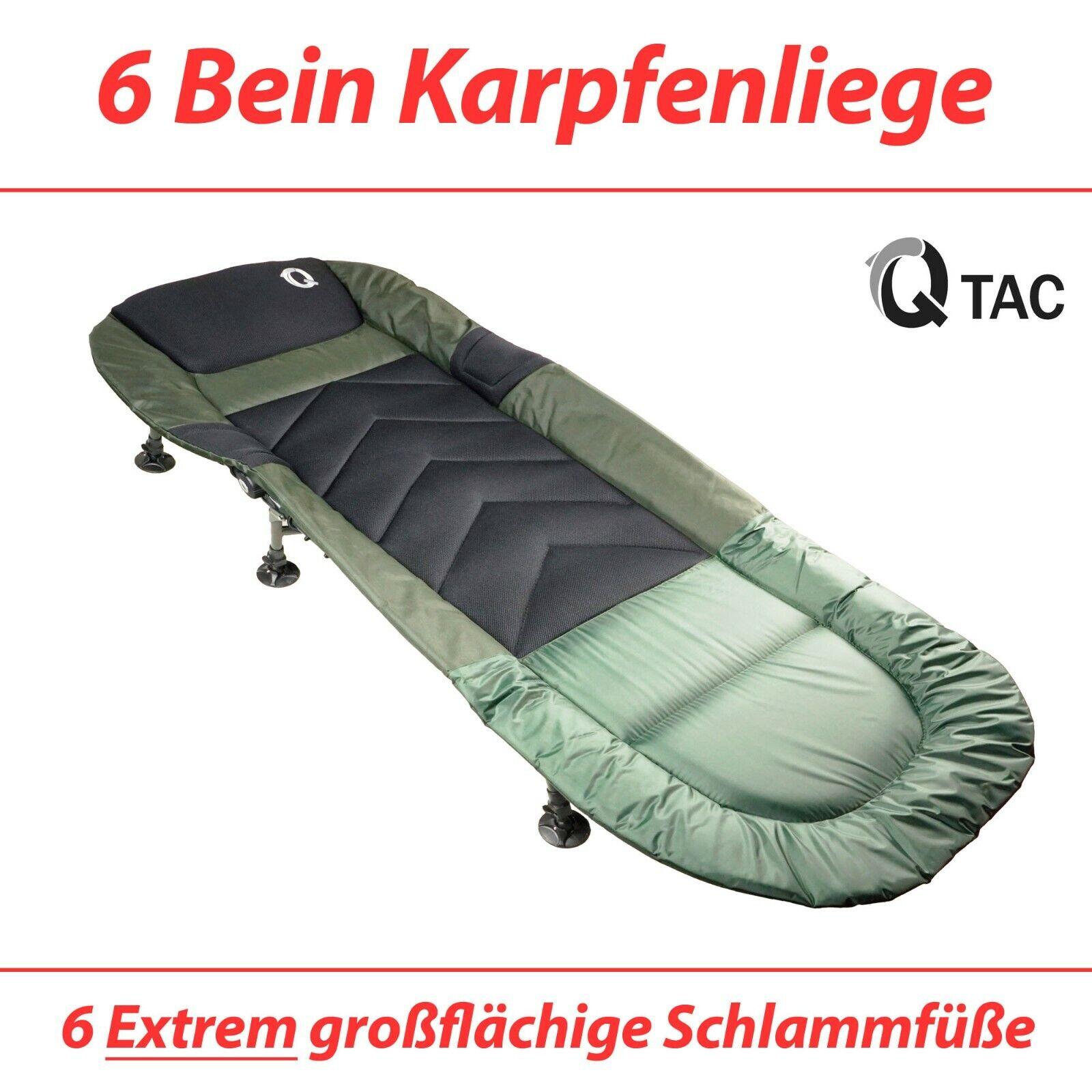 Q-Tac hochwertige Angelliege 6-Bein, Karpfenliege, Campingliege, Feldbett
