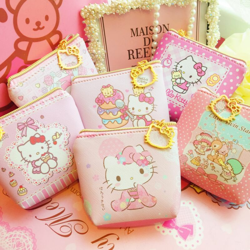 Cute Hello Kitty Coin Purse Key ID Card Earphone Storage Bag with Keyring Zipper